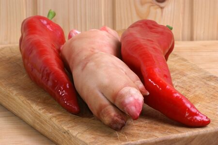 pigs trotter and red pepper to make a soup photo