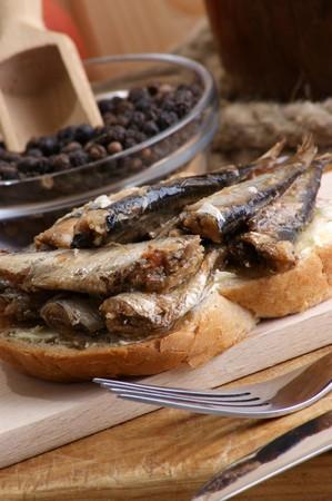 sprats: some fresh organic sprats on home made toast