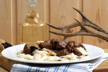 Goulash: home made noodle and organic deer goulash