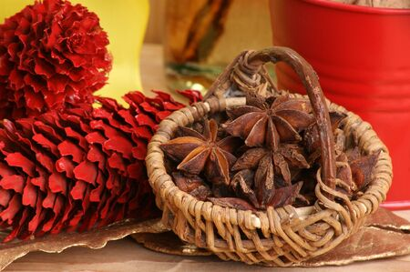 christmas decoration with organic star anise in a basket Stock Photo - 7505872