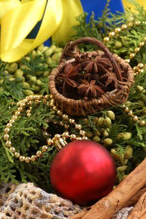 christmas decoration with fir sprigs and organic cinnamon Stock Photo - 7531618
