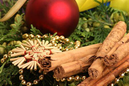 christmas decoration with fir sprigs and organic cinnamon Stock Photo - 7531606