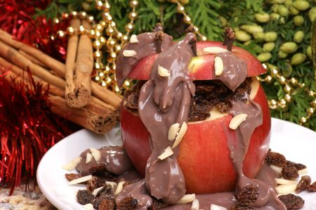 baked apple with home made chocolate pudding Stock Photo - 7531614
