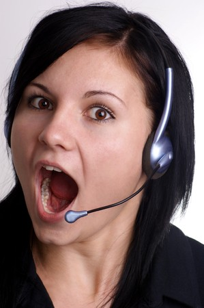 a young woman with open mouth and headset Stock Photo - 7671189