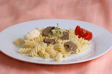 organic summer truffle with pasta butter and tomato Stock Photo - 7754997