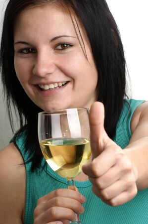 a young woman drinks home made wine Stock Photo - 7850617