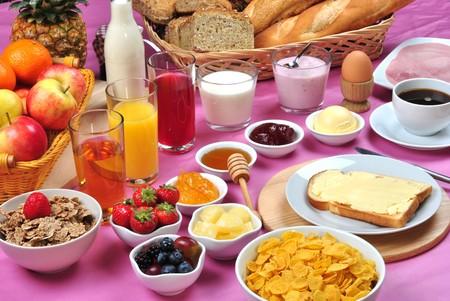 full breakfast with organic juice and jam Stock Photo