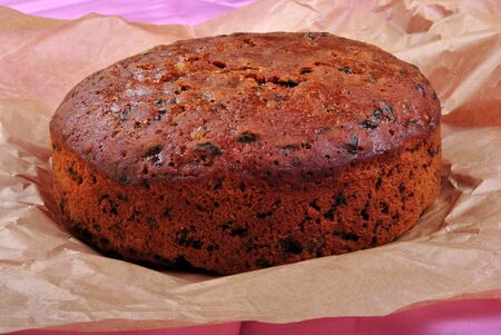 spicecake: home made organic christmas cake with fruit Stock Photo