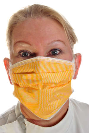 clinical staff: clinical staff wearing a new surgical mask Stock Photo