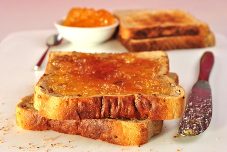 toasted sandwich: toasted sandwich with some organic orange marmelade