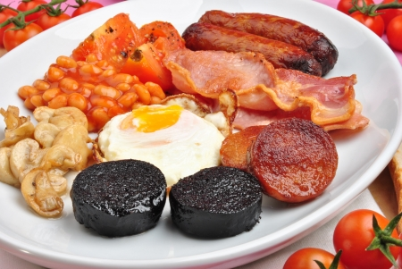 traditional irish breakfast on a large plate Stock Photo