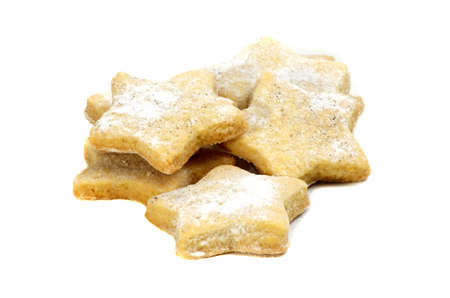 gouged: vanilla cookies in star shape decorated with vanilla sugar Stock Photo