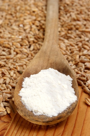 Flour on a wooden spoon and grain Standard-Bild