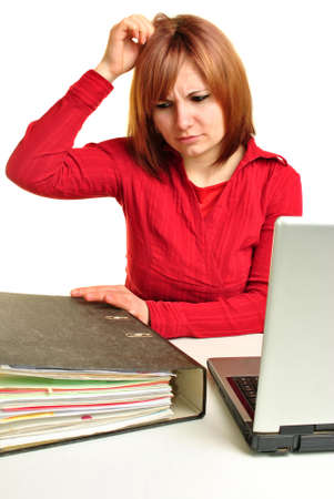 Office assistant with a folder and laptop Stock Photo - 9264767