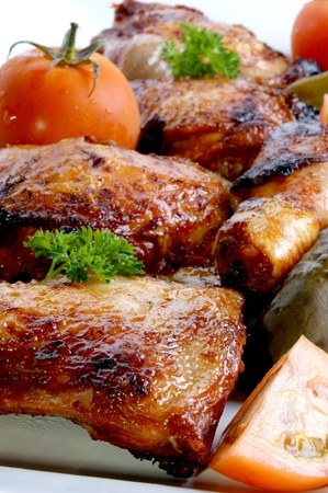 chicken meat: grilled organic chicken meat on a white plate Stock Photo