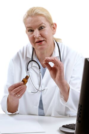 medical assistant: medical assistant with a brown pill bottle and tablet