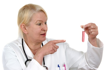medical staff examined a test tube with red liquid Stock Photo - 9632615
