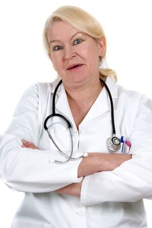 medical assistant: medical assistant crosses her arms and white background
