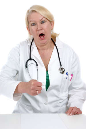 medical assistant: medical assistant clenches her fist and white background