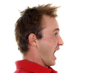 young man screaming with his mouth open Stock Photo - 9778001