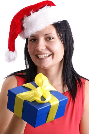 a young woman carries a christmas hat photo