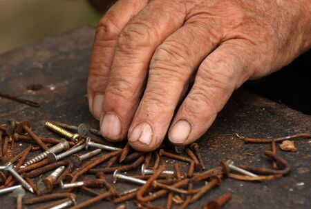 sorted: old hand sorted, used nails and screws
