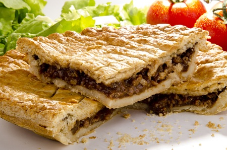 minced pie: puff pastry pie with minced steak and tomato