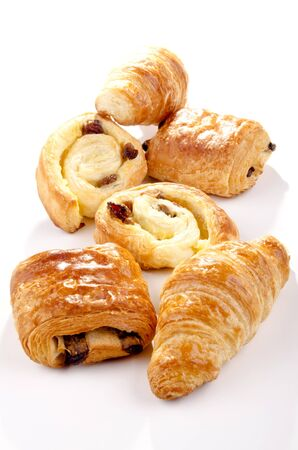traditionally french: golden brown baked pastry with raisins