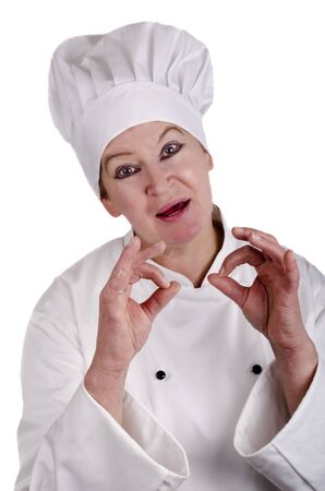 good quality: female chef symbolizes with thumb and index finger a good quality