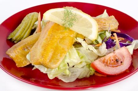 kipper: Fresh Scottish kipper with organic salad on a plate Stock Photo