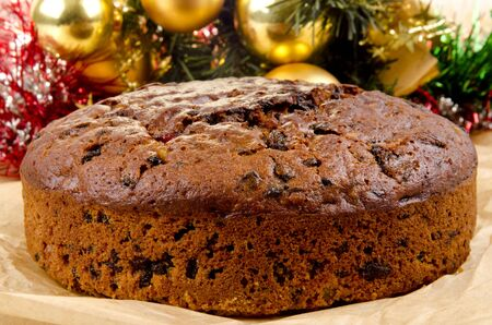 christmas cake: freshly baked Christmas fruit cake