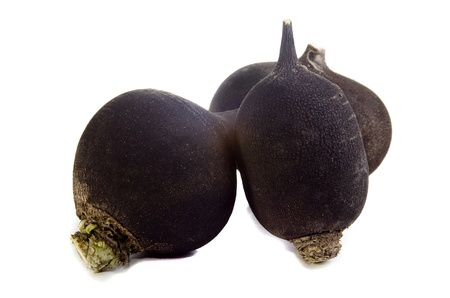 black winter radish on a bright background photo