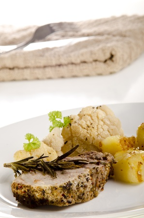 roast pork with fried potatoes and cauliflower Stock Photo - 12965962