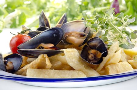 French fries with mussels, a Belgian specialty photo