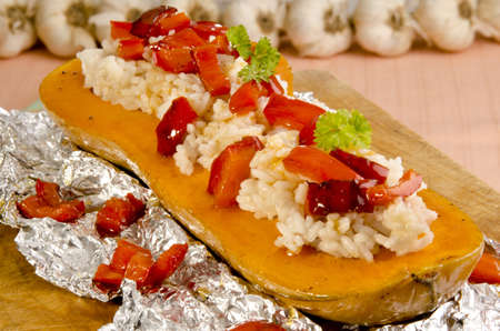 baked butternut stuffed with rice and red peppers