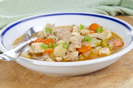 chicken meat: organic vegetable soup with chicken meat Stock Photo