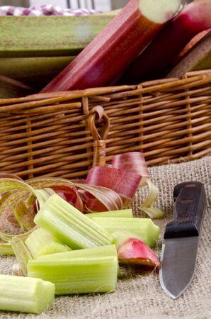 freshly cut organic rhubarb from the garden Stock Photo - 13726587