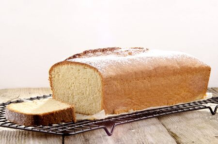 sponge cake with lemon aroma and icing sugar photo