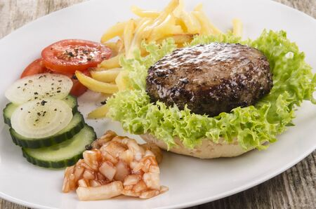home made hamburger with green salad on a white plate photo