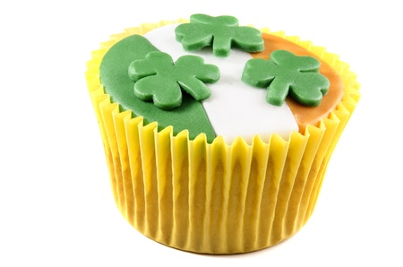 irish st patricks day cupcake with green, white and orange icing  photo
