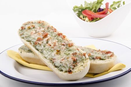 chicken meat: baguette with cheese, chicken meat and tomato