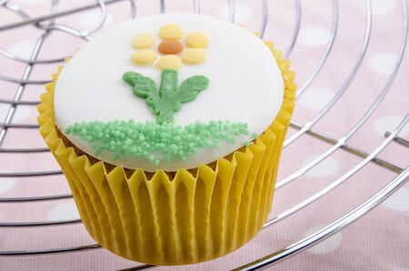 gluten free cupcake with fondant flower and green sprenkle Stock Photo - 17966235