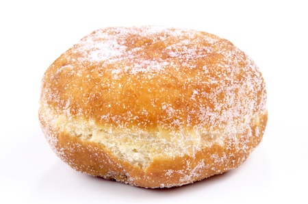 one jelly filled donut on a bright background