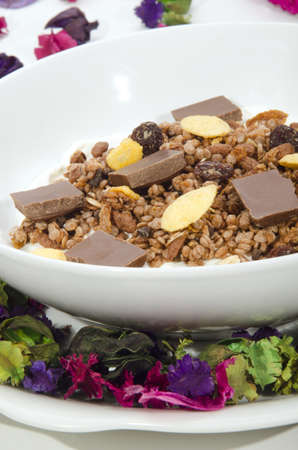 chocolate cereal: chocolate cereal with milk in a white bowl