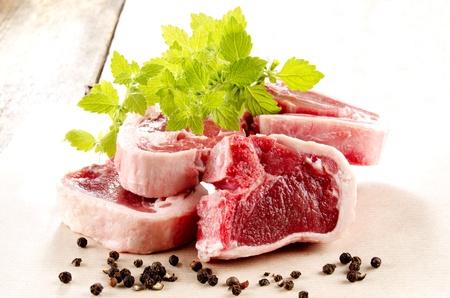 lamb chop: fresh lamb chops with organic mint and peppercorn