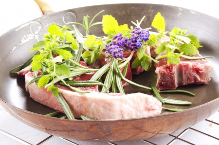 lamb chops, rosemary, lavender and mint   photo