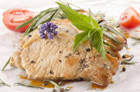 pork chop: pork chop with mint and lavender