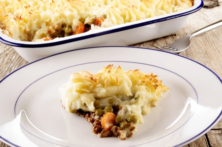 cottage pie with mashed potato on a plate photo
