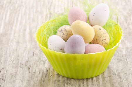 chocolate easter eggs in a cupcake baking mold photo
