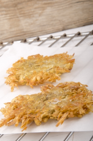 hash: home made hash brown on kitchen paper Stock Photo